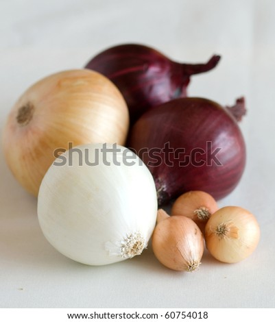 a few  onions isolated on white background