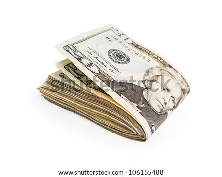 A few twenty dollar bills folded in half and isolated on a white background.
