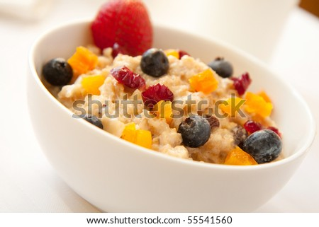 A fiber rich rich breakfast complete with fresh and dried fruits