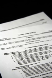 A fictitious resume with a black background