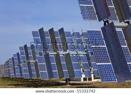 A field of photovoltaic solar panels providing alternative green energy