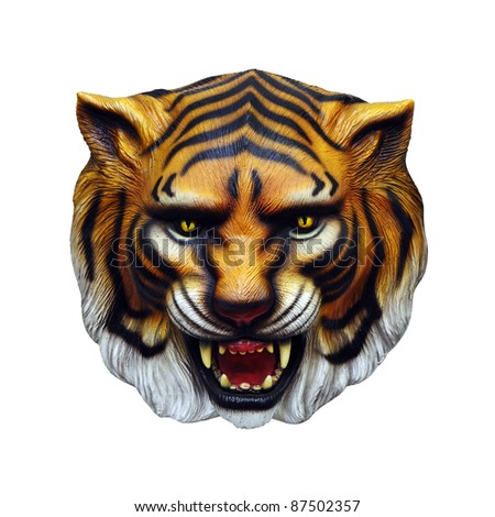 A fierce tiger head with camouflage stripes, isolated against white background.