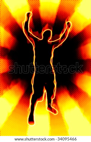 A fiery silhouette illustration of a young man throwing his hands up in the air.