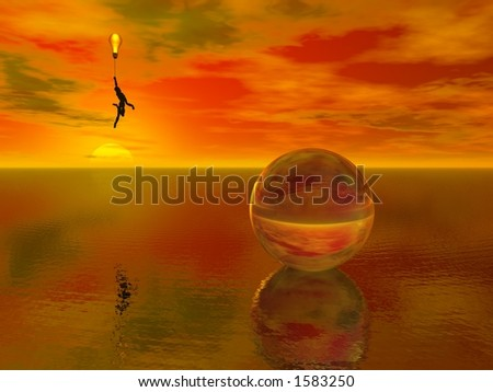 A figure floats about a watery surface while holding a bulb balloon
