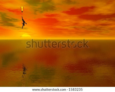 A figure floats above a fantastic landscape