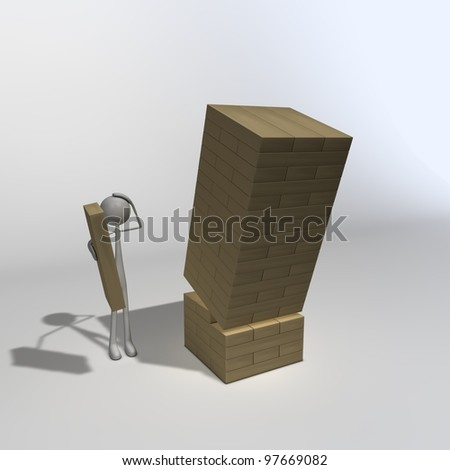 a figure is playing Jenga and wondering why its falling over