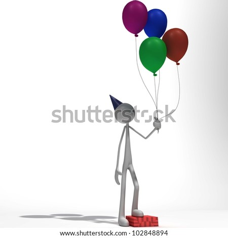 a figure is standing on a gift package with a couple of balloons