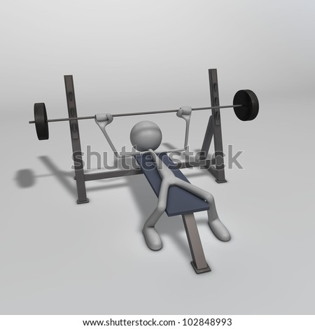 a figure is training on a weight bench