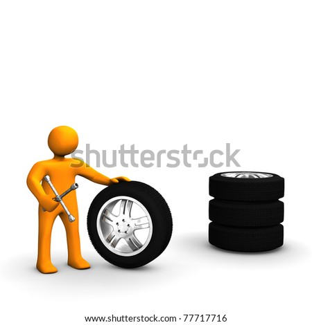 A figure of a man with wrench and a stack of tires.