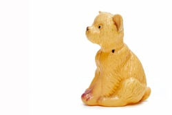 a figurine of a doggie of pale brown color. painted porcelain. collectibles. Swap meet. Antiques, art.