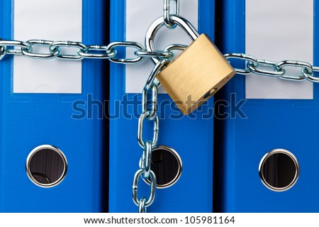 a filing with chain and padlock closed. privacy and data security.