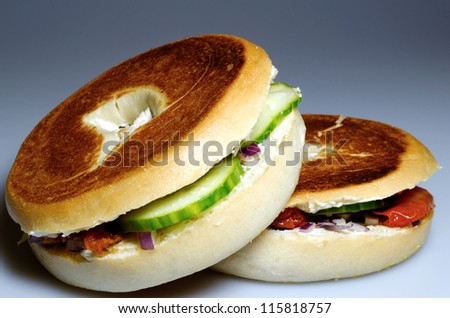 A filled, toasted bagel snack