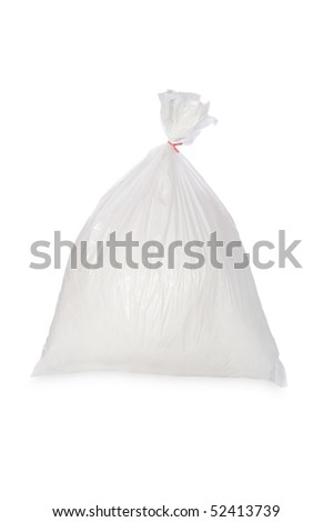 A filled white trash bag isolated on white.