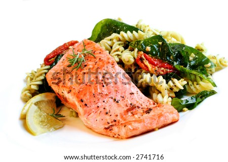 A fillet of Atlantic salmon, perfectly cooked, with a fresh pasta salad.