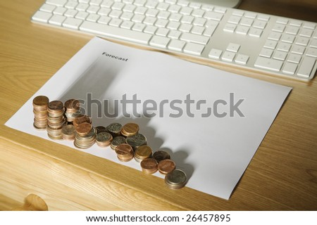 A financial graph made of the shadows of coins