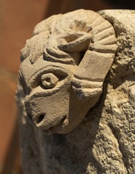 A find discovered during the excavations. The sculpture is made of limestone. The head of aries. Decorative element of an ancient Greek building. 5th century.
