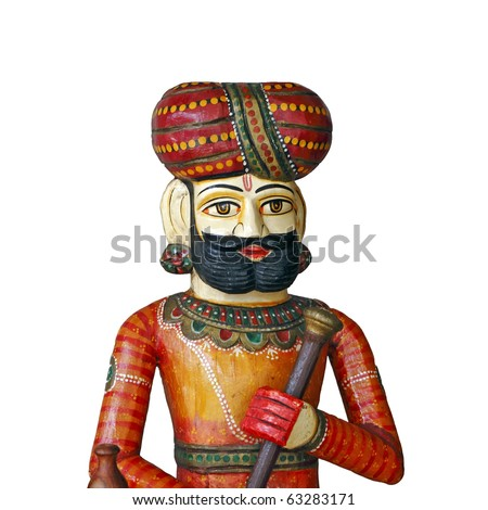 A finely carved colorful sculpture of an ancient Bengali soldier.