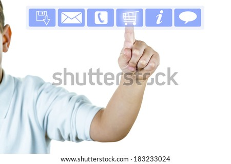 A finger on a virtual screen showing on line shopping concept