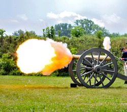 A fire blast from a vintage cannon