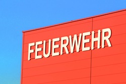 a fire department sign in german (Feuerwehr), rescue and emergency services
