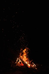 A fire with sparks flying around with visible firewood and ember