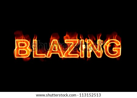 A fired word/phrase from a text effect series isolated on a black background.