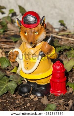 Detail · A Fireman Fox Garden Statue Decoration #381867334