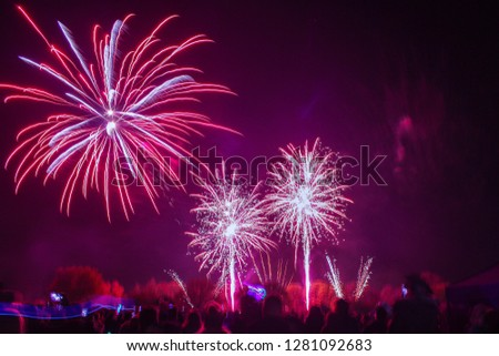 A firework display with three fireworks in view, two small ones and one big one. #1281092683