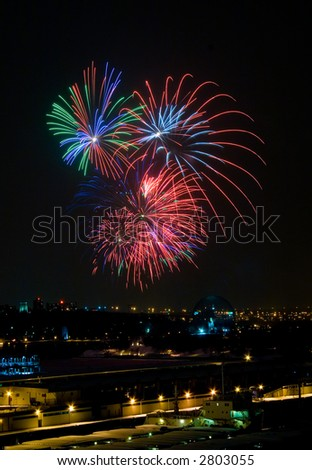 picture of fireworks display. fireworks display over the