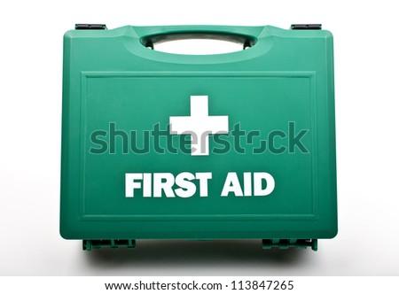 a first aid box on a white...