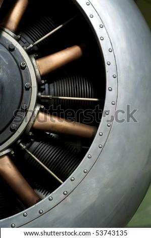 stock photo : A First World War fighter aircraft engine