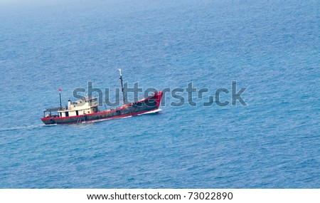 A fish boat starts its daily work