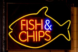 A Fish & Chips neon sign in London, England