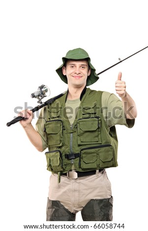 A fisherman giving thumbs up, with fishing pole on his shoulder isolated against white background
