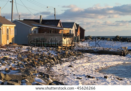A fishing village abandoned for the winter.
