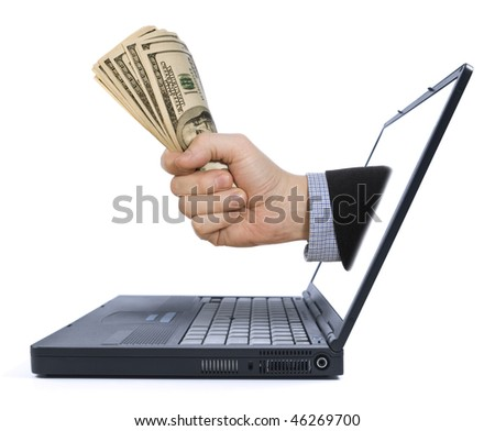 A fistful of dollars appears from the laptop screen.