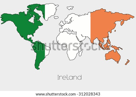 A flag illustration inside the shape of a world map of the country a flag illustration inside the shape of a world map of the country of ireland gumiabroncs Gallery