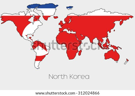 A Flag Illustration inside the shape of a world map of the country ...