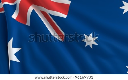 A flag of Australia in the wind
