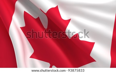A flag of Canada in the wind
