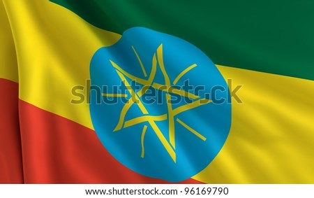 A flag of Ethiopia in the wind