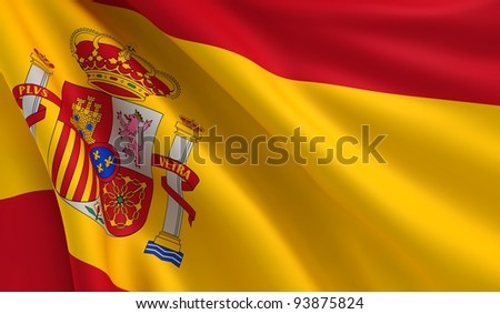 A flag of Spain in the wind
