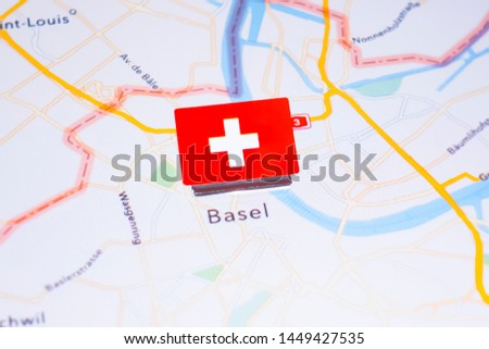 A Flag of Switzerland on Basel, Switzerland in the World Map #1449427535