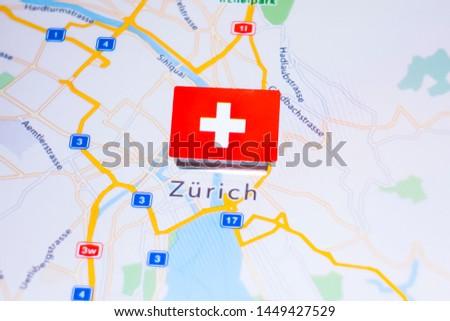 A Flag of Switzerland on Zurich, Switzerland in the World Map #1449427529