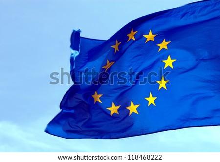 A flag of the European Union against the sky
