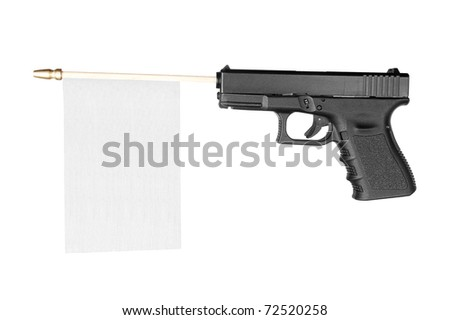 A flag with room for copy sticks out of a gun isolated on white.