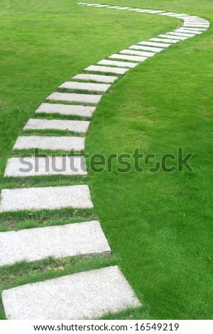 A flagstone walkway - stock photo