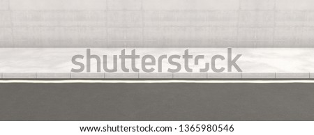 A flat front view of a section of modern raised sidewalk and street on a plain wall background - 3D render Foto stock ©
