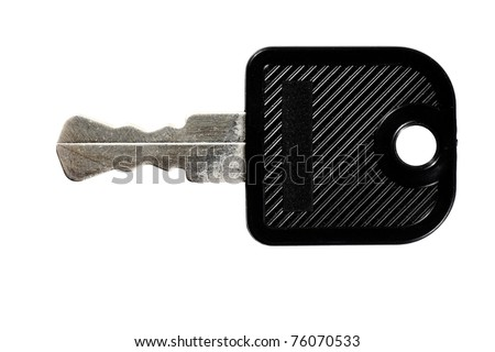 A flat locker key with black plastic head isolated against white background.