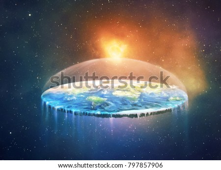 A flattened earth in space. Digital illustration.